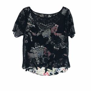 WHBM Black Lace Layer Over Attached Floral Tank M